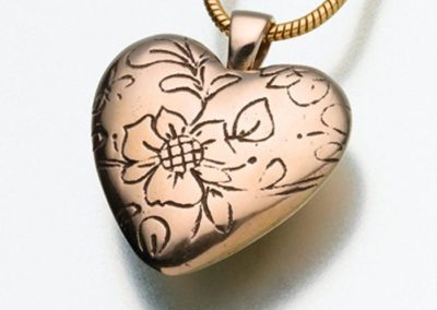 A heart pendant. An example of cremation jewelry provided by Simply Cremations.